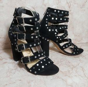 Sam Edelman black studded straps cage heels 6